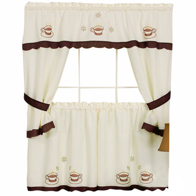 Cuppa Joe Embellished Cottage Rod-Pocket Window Tiers & Tailored Topper Set