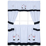 Gourmet Embellished Cottage Rod-Pocket Window Tier & Tailored Topper Set