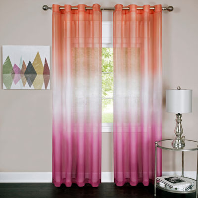 Rainbow Sheer Grommet-Top Curtain Panel