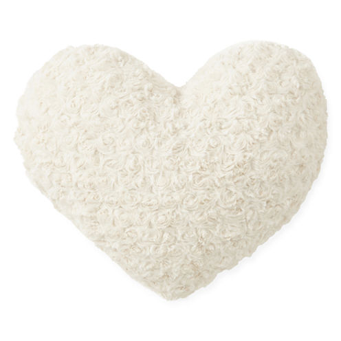 JCPenney Home™ Rose Faux Fur Heart-Shaped Decorative Pillow