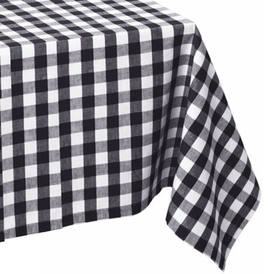 Design Imports Checkers Black & White Tablecloth