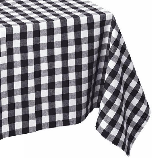 Design Imports Checkers Black & White Tablecloth