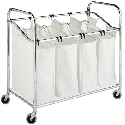 Whitmor 4-Section Chrome & Canvas Laundry Sorter