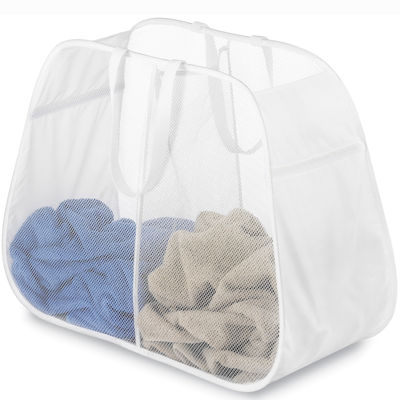 Whitmor Pop Fold Double Hamper White