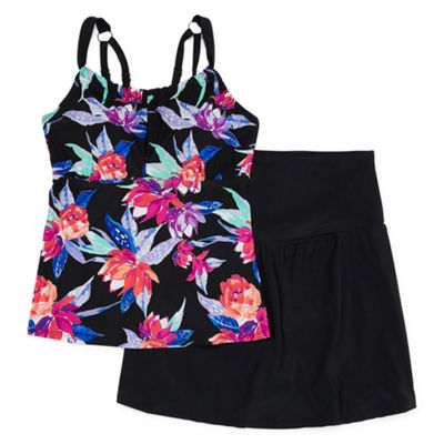 St. John's Bay Floral Tankini Swimsuit Top-Plus