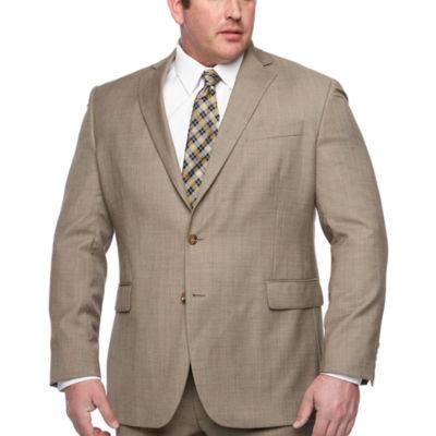 Stafford Executive Super100 Tan Tic Classic Fit Suit Jacket - Big & Tall