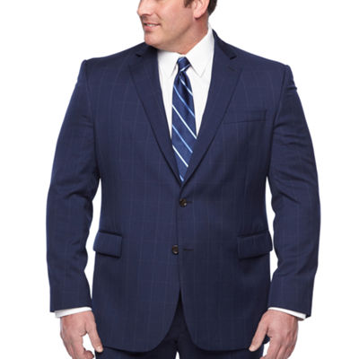 Stafford Executive Super100 Navy Windowpane Classic Fit Suit Jacket - Big & Tall