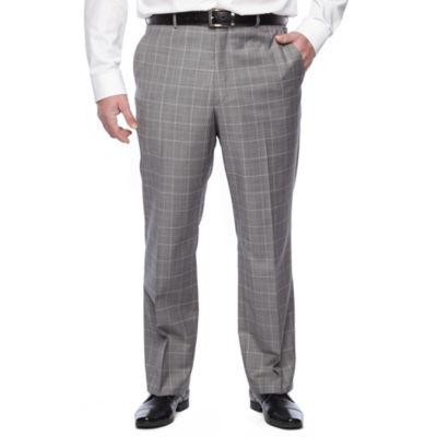 Stafford Travel Gray Blue Windowpane Stretch Classic Fit Suit Pants - Big & Tall