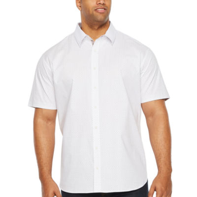 Society Of Threads Short Sleeve Dots Button-Front Shirt-Big and Tall