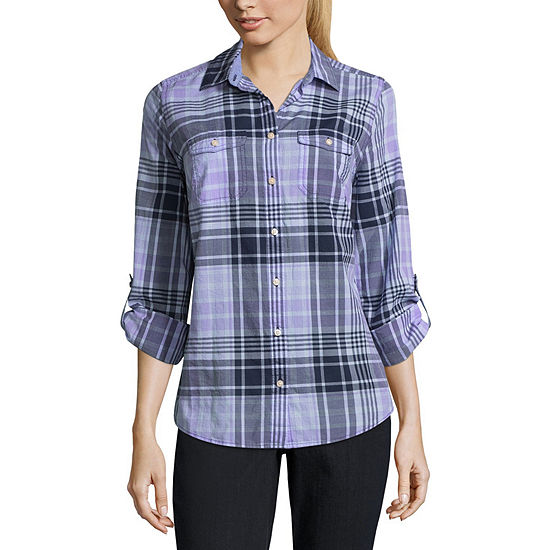 St. John's Bay Womens Long Sleeve Relaxed Fit Button-Front Shirt