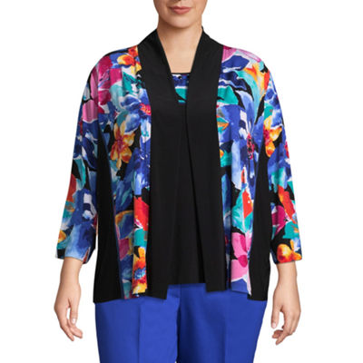 Alfred Dunner Upper East Side Floral Layered Sweater- Plus