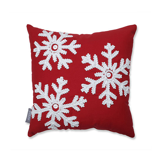 Pillow Perfect Country Home Snowflakes 15.5-inch Throw Pillow
