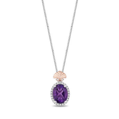 Enchanted Disney Fine Jewelry 1/10 CT. T.W. Genuine Amethyst Sterling Silver & 14K Rose Gold Over Silver Disney Princess Necklace