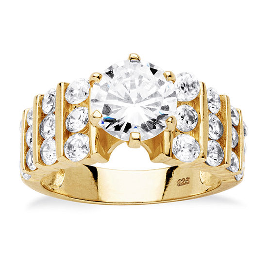 Diamonart Womens 3 1/4 CT. T.W. White Cubic Zirconia 18K Gold Over Silver Engagement Ring