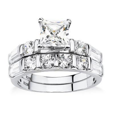 Diamonart Womens 3 1/2 CT. T.W White Cubic Zirconia Platinum Over Silver Bridal Set