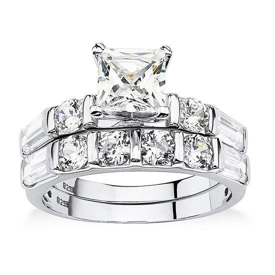 DiamonArt® Womens 3 1/2 CT. T.W White Cubic Zirconia Platinum Over Silver Bridal Set