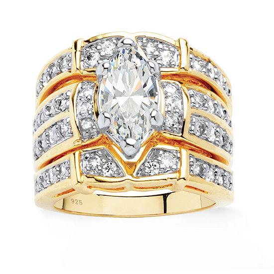 Diamonart Womens 3 CT. T.W. White Cubic Zirconia 18K Gold Over Silver Bridal Set