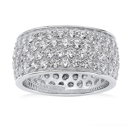 9M 3 1/4 CT. T.W. White Cubic Zirconia Platinum Over Silver Band