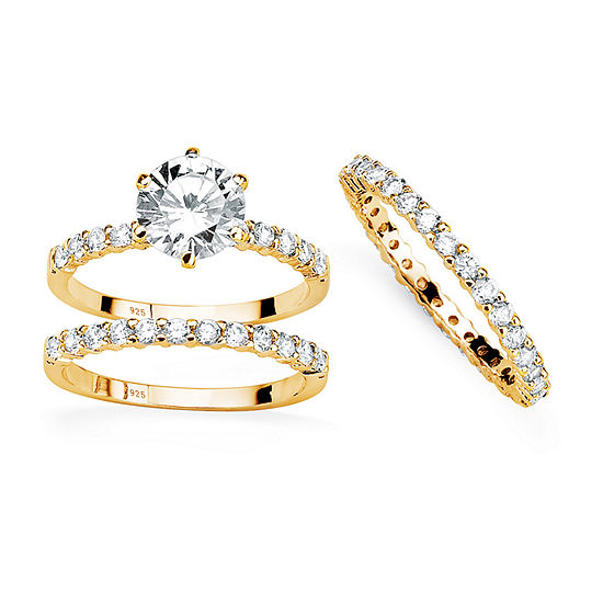 Womens 3 3/4 CT. T.W. White Cubic Zirconia 14K Gold Over Silver Bridal Set