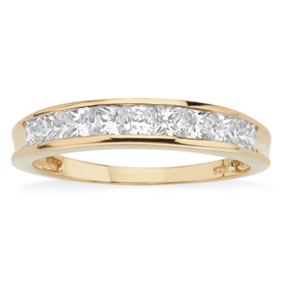 Diamonart Womens 2mm 3/4 CT. T.W. White Cubic Zirconia 18K Gold Over Silver Band