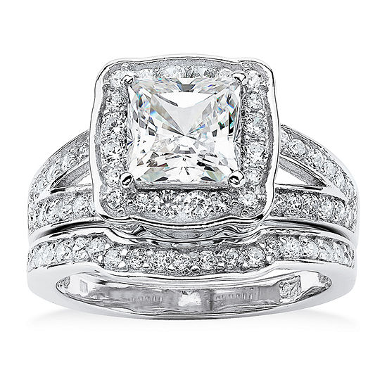 Womens 2 1/2 CT. T.W. White Cubic Zirconia Platinum Over Silver Bridal Set