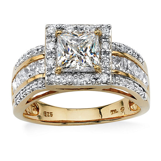 Diamonart Womens 2 1/5 CT. T.W. White Cubic Zirconia 18K Gold Over Silver Engagement Ring