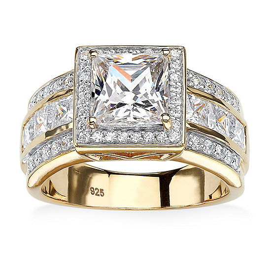 Diamonart Womens 3 CT. T.W. White Cubic Zirconia 18K Gold Over Silver Engagement Ring