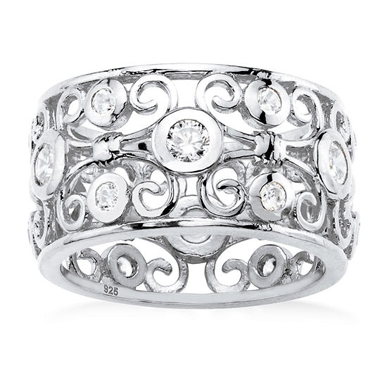DiamonArt® Womens 1 CT. T.W. White Cubic Zirconia Sterling Silver Cocktail Ring