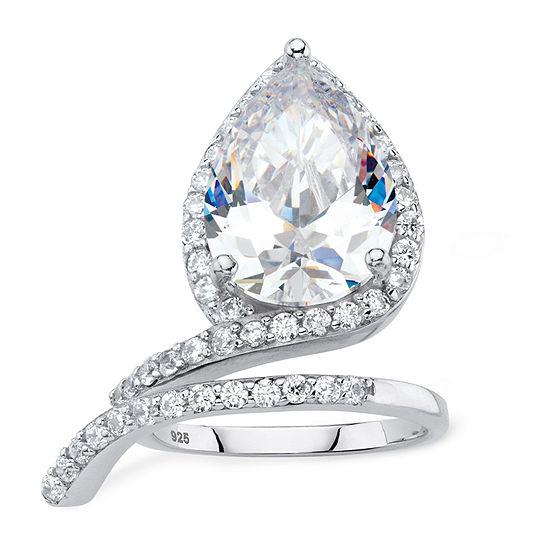 DiamonArt® Womens White Cubic Zirconia Platinum Over Silver Cocktail Ring