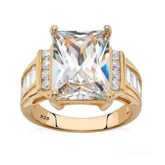 DiamonArt® Womens White Cubic Zirconia 14K Gold Over Silver Engagement Ring
