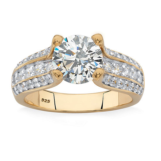 Diamonart Womens 2 3/4 CT. T.W. White Cubic Zirconia 14K Gold Over Silver Engagement Ring