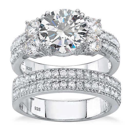 Diamonart Womens 4 1/4 CT. T.W. White Cubic Zirconia Platinum Over Silver Bridal Set