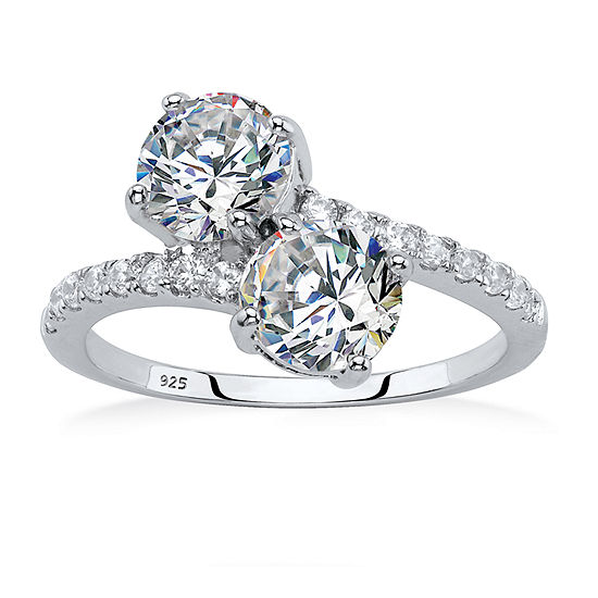 Diamonart Womens 2 3/4 CT. T.W. White Cubic Zirconia Sterling Silver Cocktail Ring