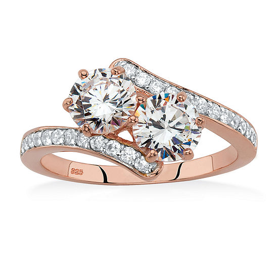 Diamonart Womens 2 1/5 CT. T.W. White Cubic Zirconia 18K Rose Gold Over Silver Cocktail Ring