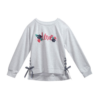 Obsess Girls Scoop Neck Long Sleeve Sweatshirt