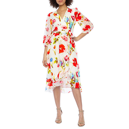 Danny & Nicole 3/4 Sleeve Floral Clip Dot Wrap Dress
