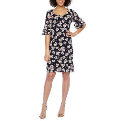 Ronni Nicole Short Bell Sleeve Floral Lace Puff Print Shift Dress-Petite