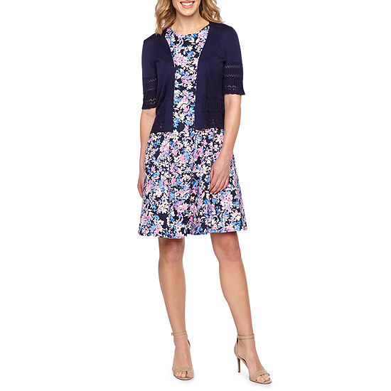 Liz Claiborne Short Sleeve Shrug Or Sleeveless Floral Fit Flare Dress