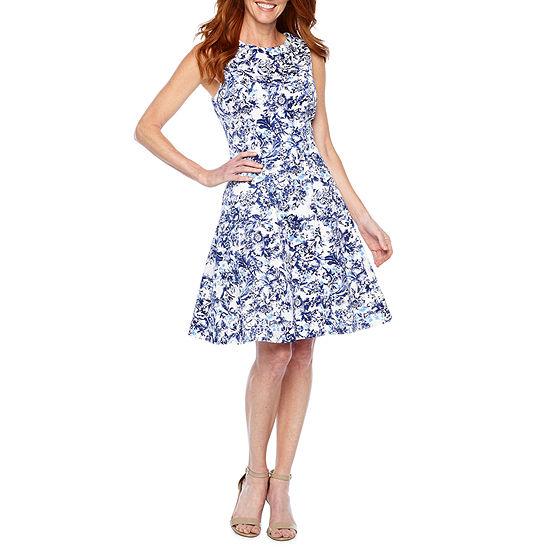 Liz Claiborne Sleeveless Floral Fit & Flare Dress