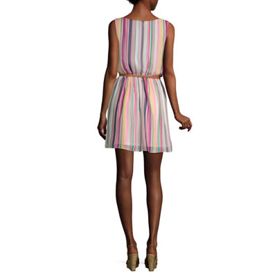 by&by Sleeveless Striped Fit & Flare Dress-Juniors