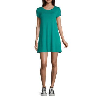 Arizona Short Sleeve T-Shirt Dresses - Juniors