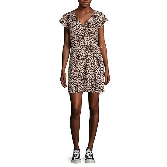 Arizona Short Sleeve Animal Wrap Dress-Juniors