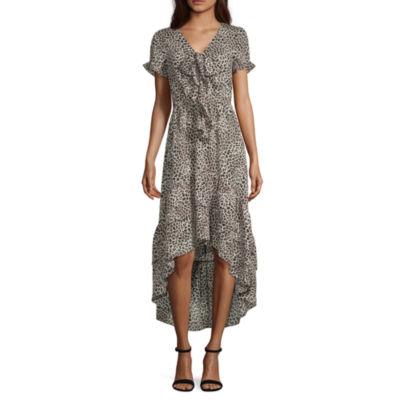 Inspired Hearts Short Sleeve Animal Fit & Flare Dress-Juniors