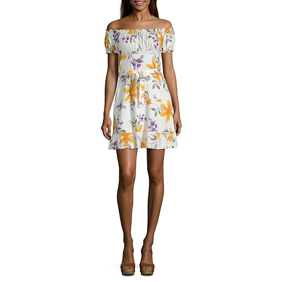 Speechless Short Sleeve Floral Fit & Flare Dress-Juniors