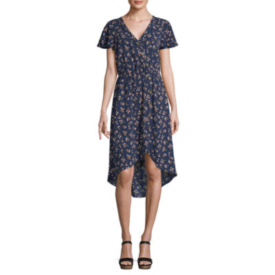 by&by Short Sleeve Skater Dress-Juniors