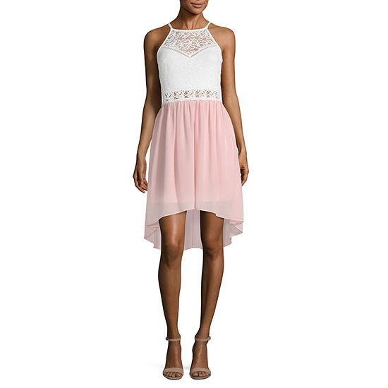 by&by-Juniors Sleeveless High-Low Fit & Flare Dress