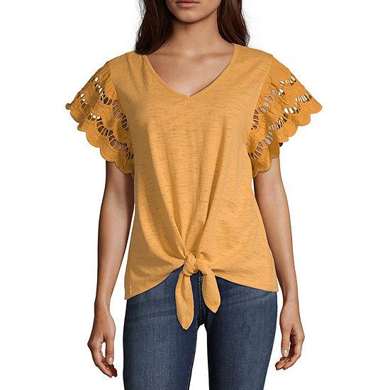 Eyeshadow Womens V Neck Short Sleeve Knit Blouse-Juniors
