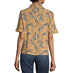 Rewind Womens Collar Neck Short Sleeve Camp Shirt-Juniors