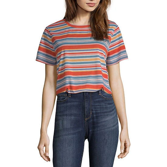 Wallflower Juniors-Womens Crew Neck Short Sleeve T-Shirt