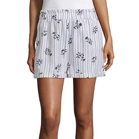 Society And Stitch Striped Shorts-Juniors